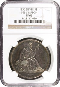 1836 SILVER GOBRECHT J-65 $1 PF obverse