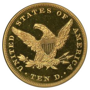1864 $10 PF reverse