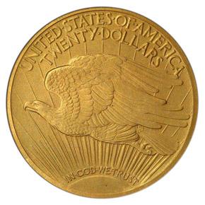 1908 MOTTO $20 PF reverse