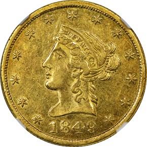 """1849 """"TEN DOL."""" MOFFAT & CO. $10 MS obverse"""