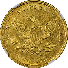 """1849 """"TEN DOL."""" MOFFAT & CO. $10 MS reverse"""