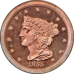 1855 1/2C PF obverse
