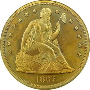 1867 J-593 S$1 PF obverse