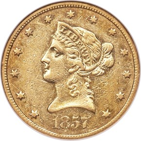 1857 O $10 MS obverse