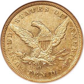 1857 O $10 MS reverse