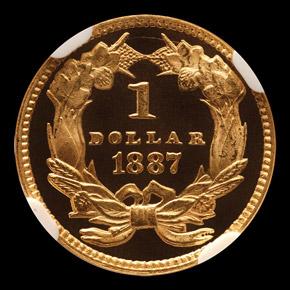 1887 G$1 PF reverse