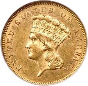 1856 S $3 MS obverse