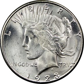 1923 S S$1 MS obverse