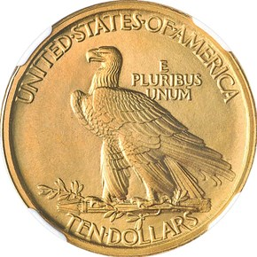 1907 INDIAN $10 SP reverse