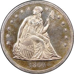 1860 $1 PF obverse
