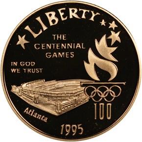 1995 W OLYMPICS STADIUM $5 PF obverse