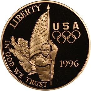1996 W OLYMPICS - FLAG BEARER $5 PF obverse