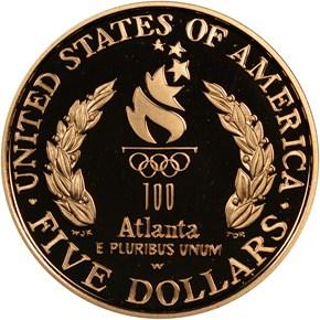 1996 W OLYMPICS FLAG BEARER $5 PF reverse