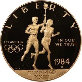 1984 W OLYMPICS $10 PF obverse