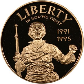 1991-1995 W W.W.II $5 PF obverse