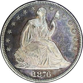 1876 CC 50C PF obverse