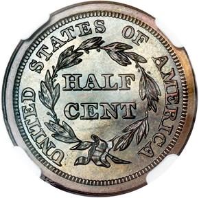 1843 RESTRIKE 1/2C PF reverse