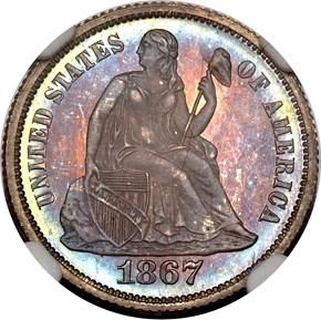 1867 10C PF obverse