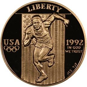 1992 W OLYMPICS $5 PF obverse