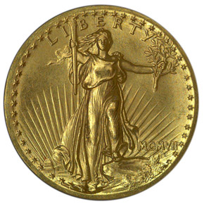 1907 HIGH RELIEF $20 PF obverse
