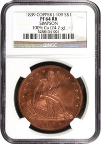 1839 COPPER GOBRECHT J-109 $1 obverse