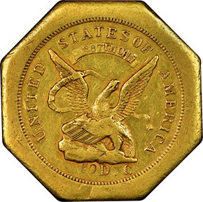 """1851 """"887"""" WITH """"50"""" AUGUSTUS HUMBERT $50 MS obverse"""
