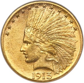 1913 S $10 MS obverse