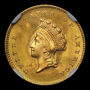 1855 G$1 MS obverse