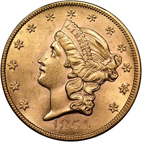 1854 LARGE DATE $20 MS obverse
