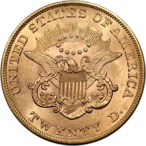 1854 LARGE DATE $20 MS reverse