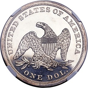 1865 $1 PF reverse
