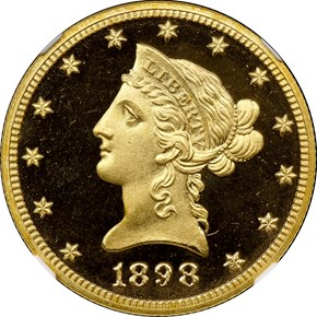 1898 $10 PF obverse