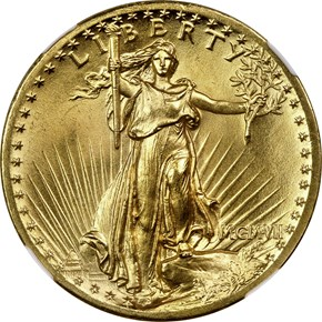 1907 HIGH RELIEF $20 MS obverse