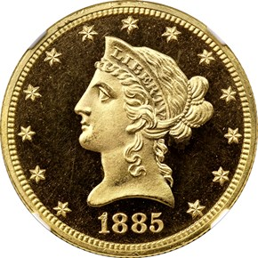 1885 $10 PF obverse