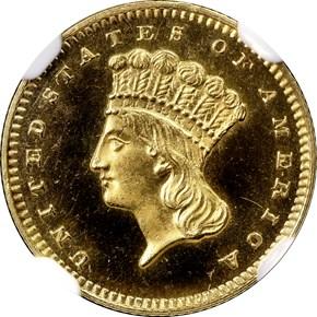 1857 G$1 PF obverse