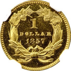 1857 G$1 PF reverse