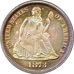 1873 CL 3 NO ARROWS 10C PF obverse
