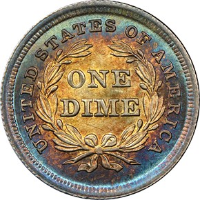 1838 LARGE STARS 10C MS reverse