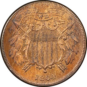 1864 SMALL MOTTO 2C MS obverse