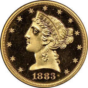 1883 $5 PF obverse
