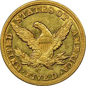 1849 C $5 MS reverse