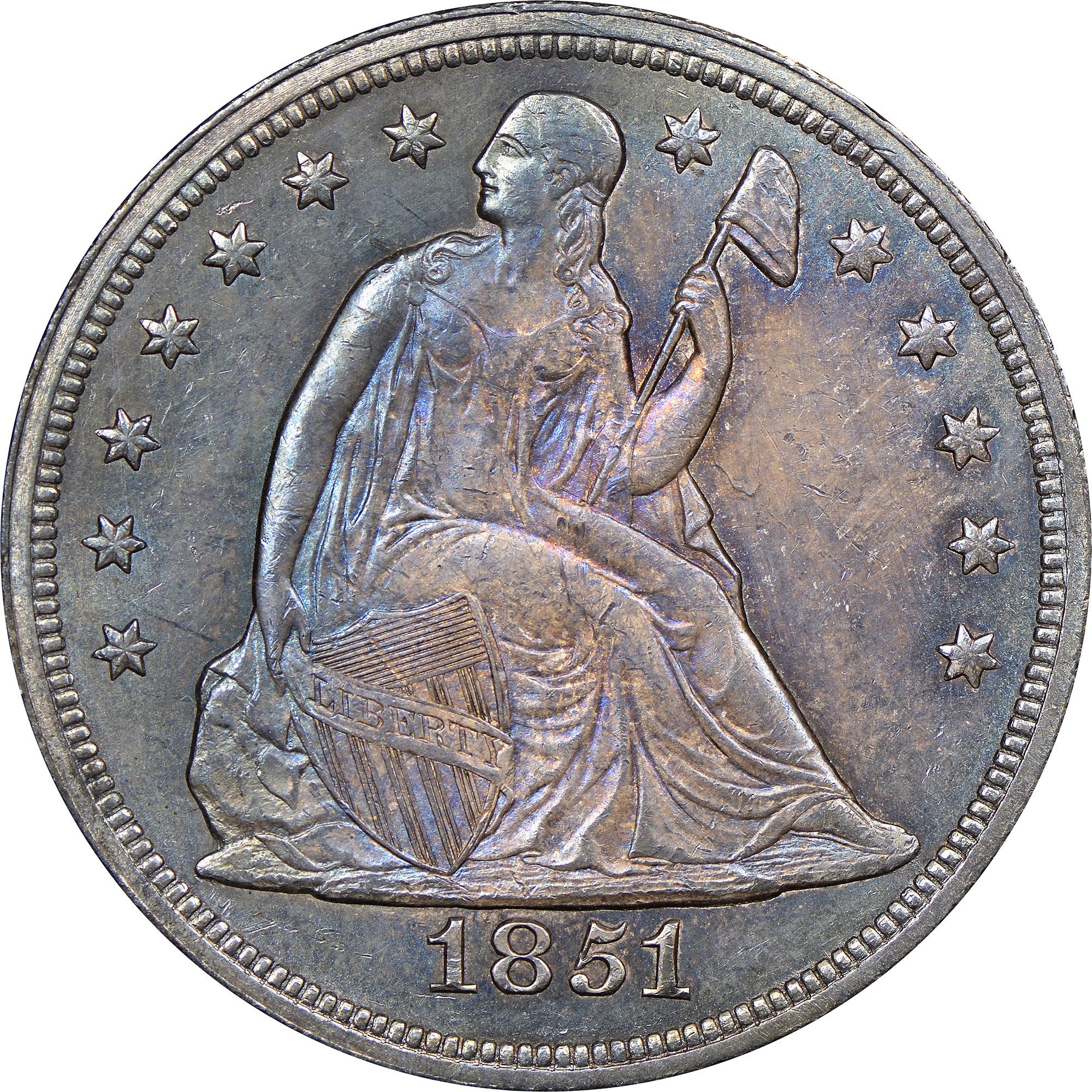 1851 1 Ms Seated Liberty Dollars Ngc
