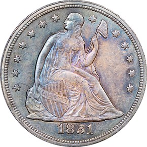 1851 $1 MS obverse