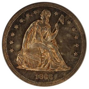 1866 NO MOTTO S$1 PF obverse