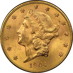 1904 S $20 MS obverse