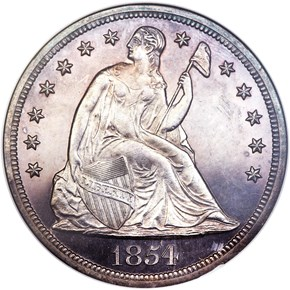1854 $1 PF obverse