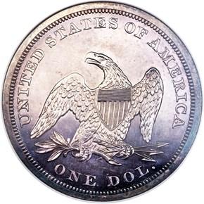 1854 $1 PF reverse