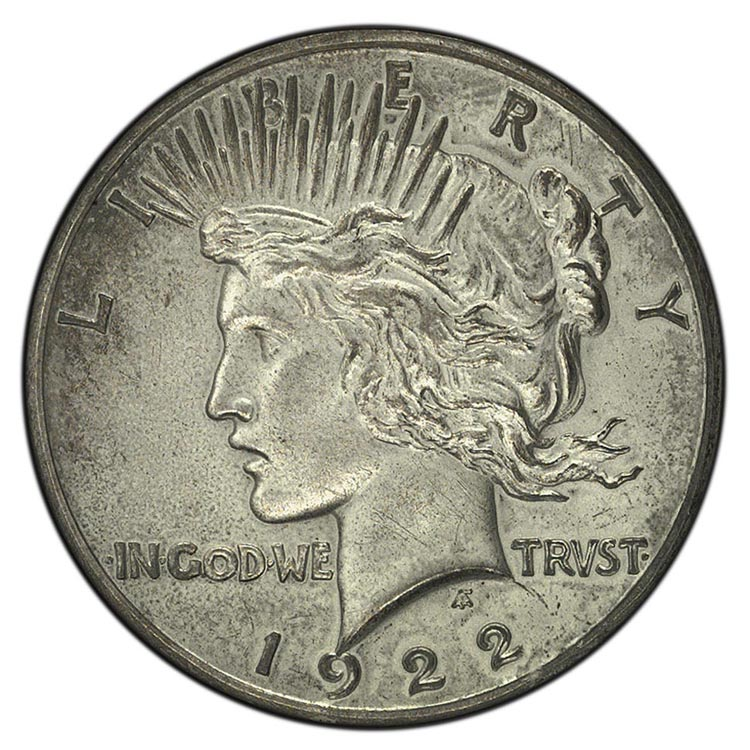 1922 High Relief $1 PF Peace Dollars