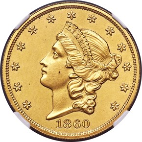 1860 J-273 GILT $20 PF obverse