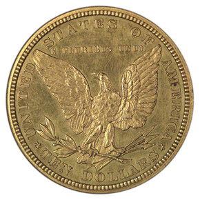 1878 J-1580 GILT $10 PF reverse